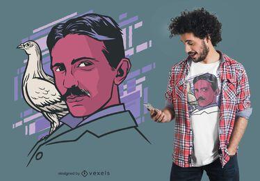 Projeto do t-shirt do pássaro de Tesla