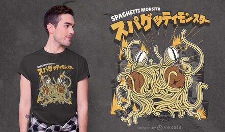Design de t-shirt de monstro de espaguete