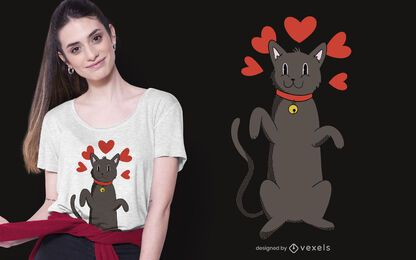 Diseño de camiseta Black Cat Love
