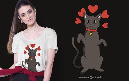 Projeto do t-shirt do amor do gato preto