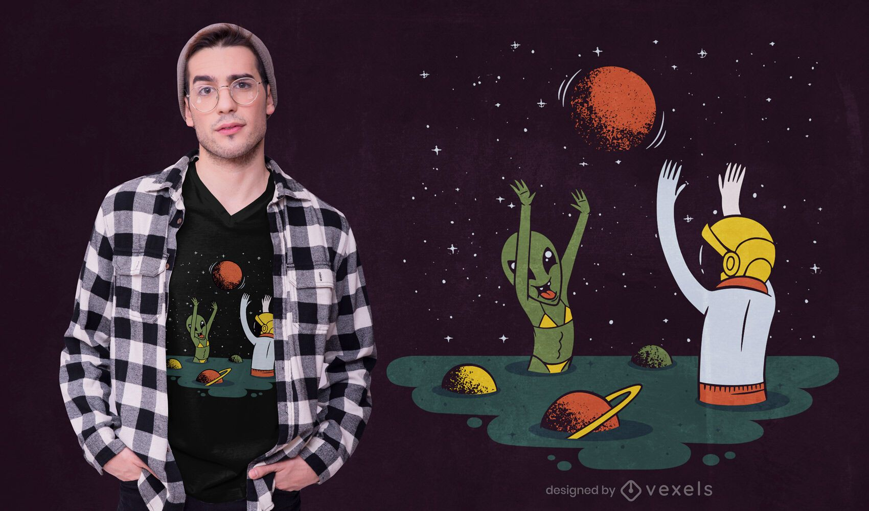 Astronaut Alien Beach T-shirt Design
