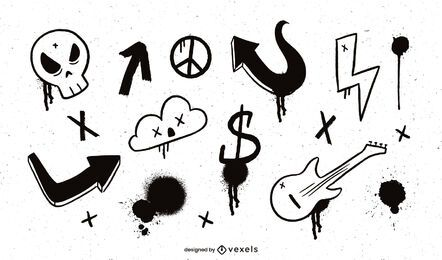 Paquete de elementos de Grafitti negro