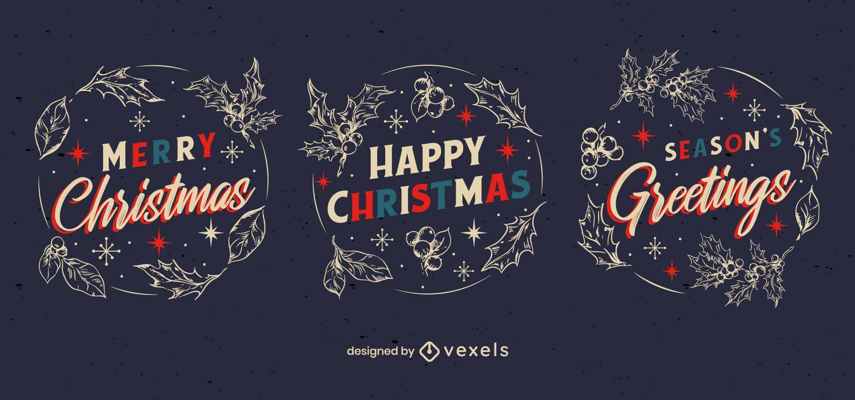 Conjunto de insignias de feliz navidad