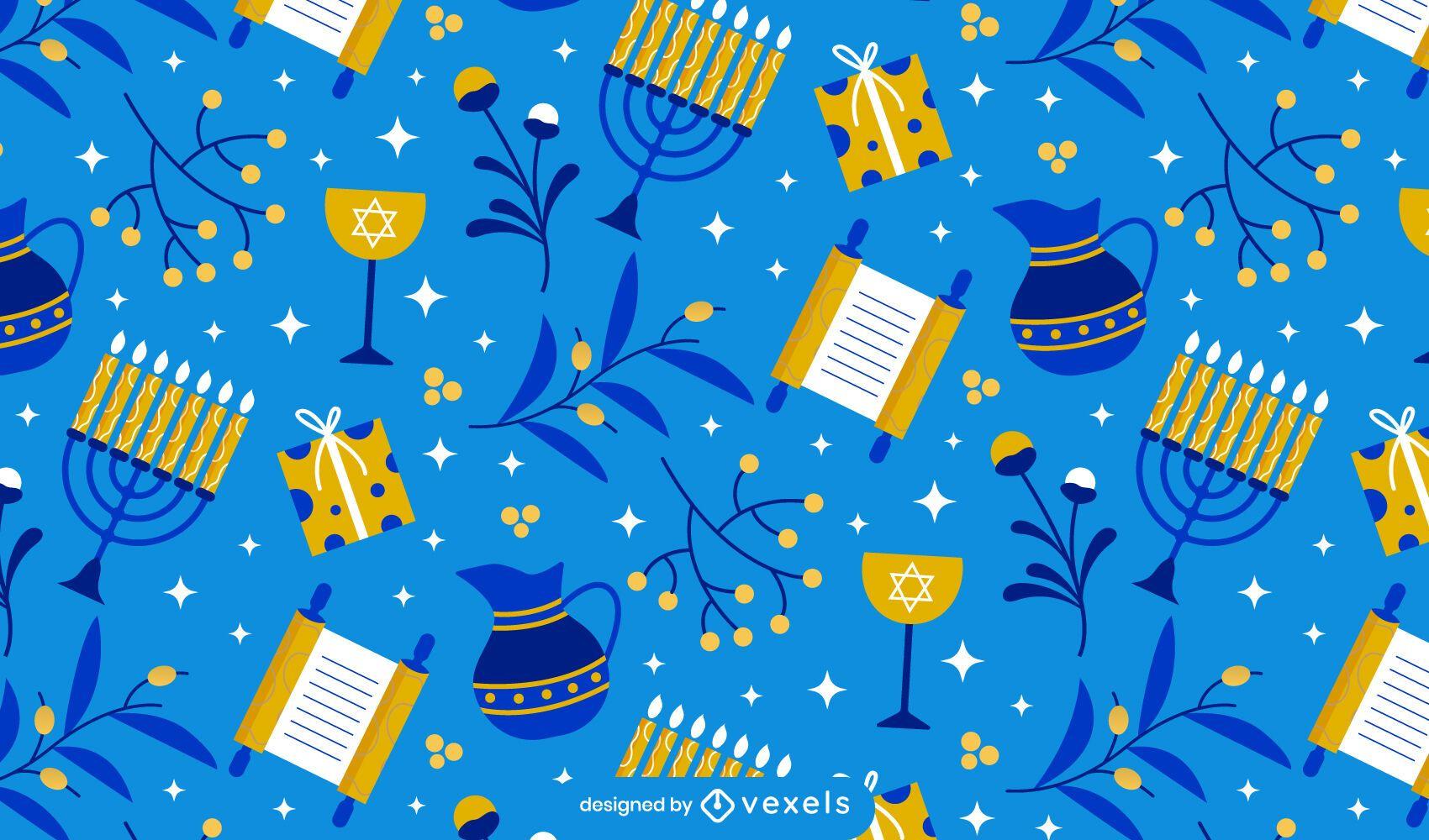 Diseño de patrón estacional de Hanukkah