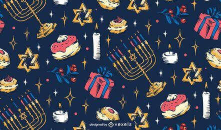 Diseño de patrón de vacaciones de Hanukkah