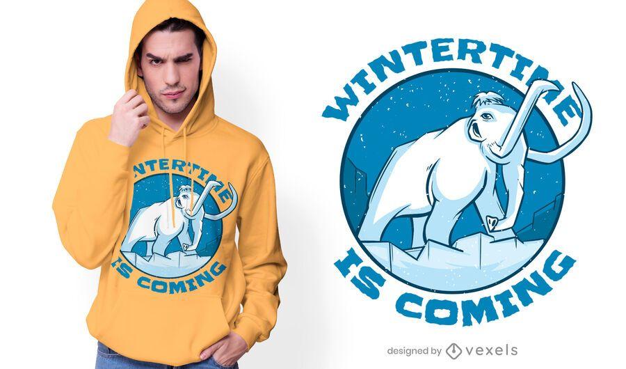 Diseño de camiseta de cita de invierno gigantesco