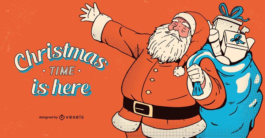 Tempo de natal é aqui design ilustração