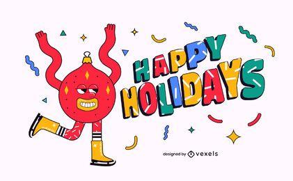 Felices fiestas diseño de ilustración de navidad