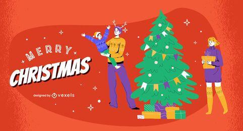 Diseño de ilustración familiar de feliz navidad