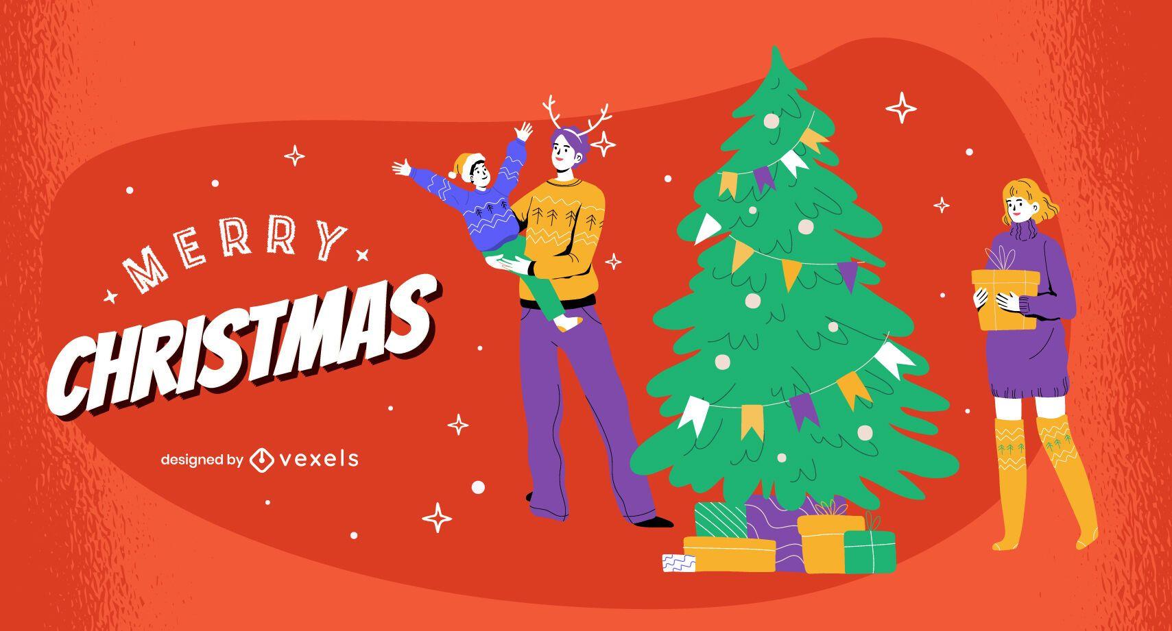 Diseño de ilustración de familia feliz navidad