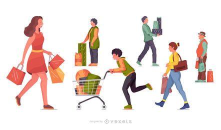Conjunto de ilustração de personagens de compras