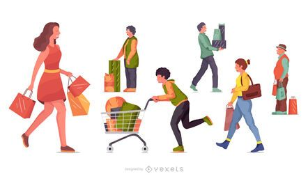 Shopping character illustration set