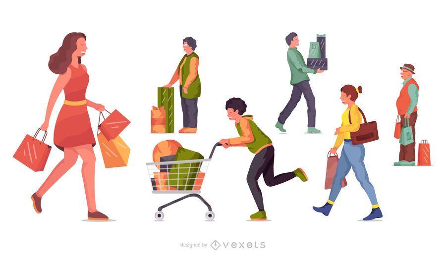 Shopping character illustration set