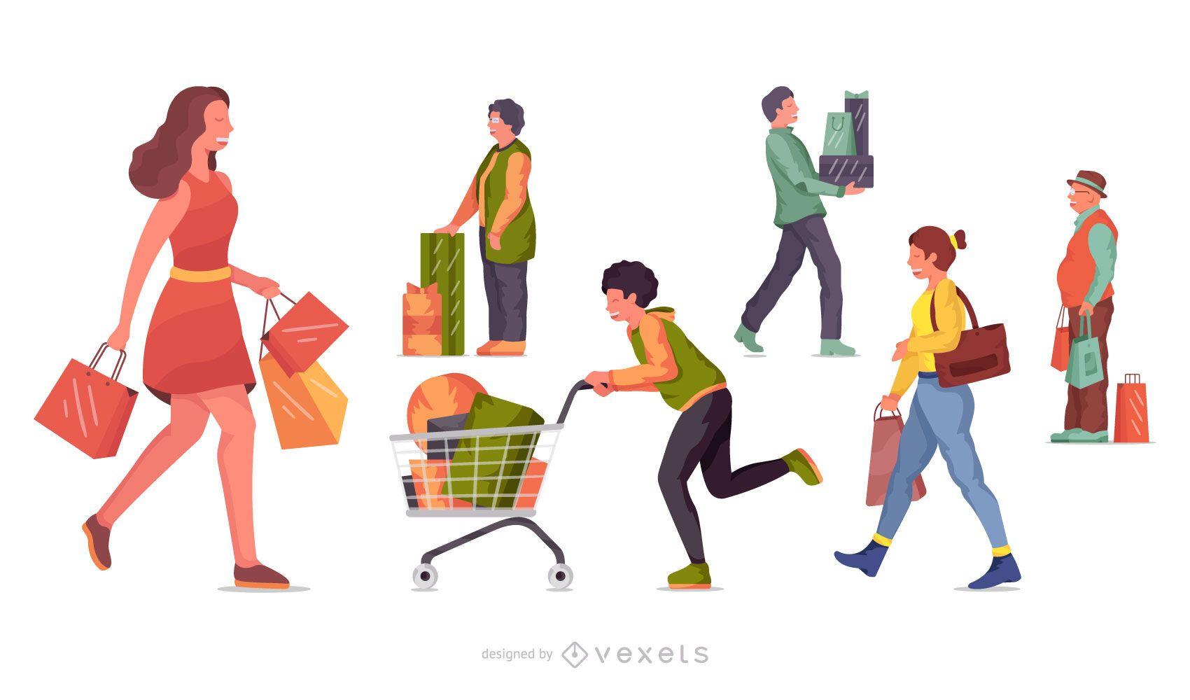 Conjunto de ilustración de personajes de compras
