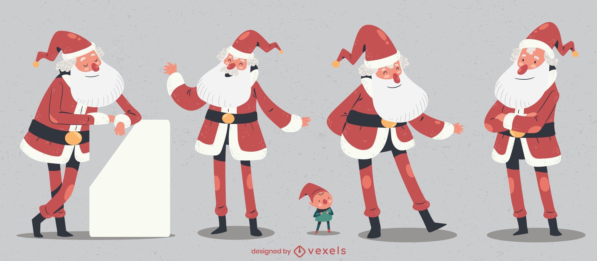 Santa claus character christmas set