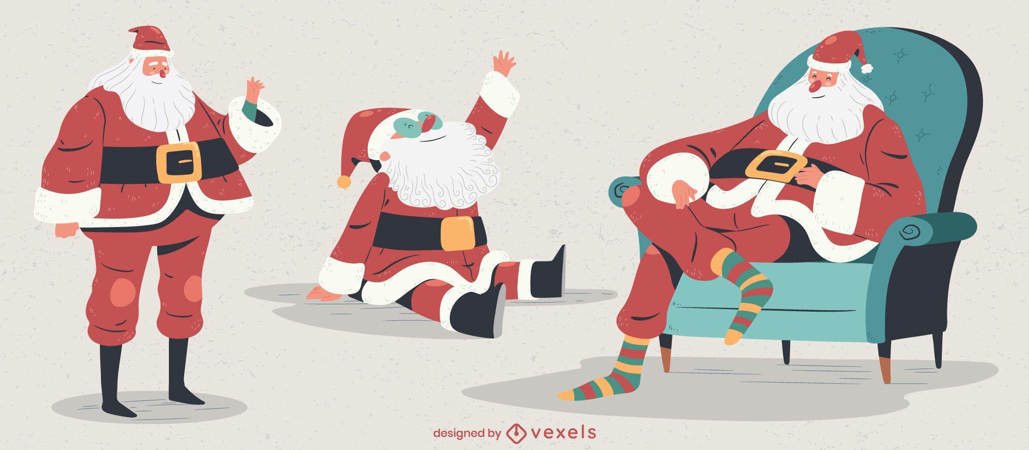 Santa claus character illustration set