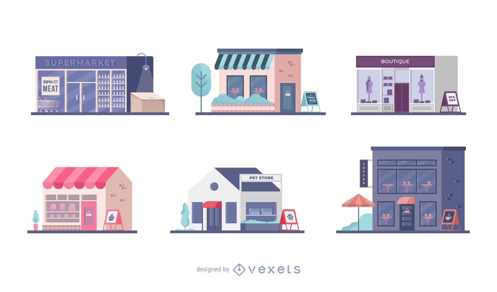 Tienda conjunto de ilustración plana