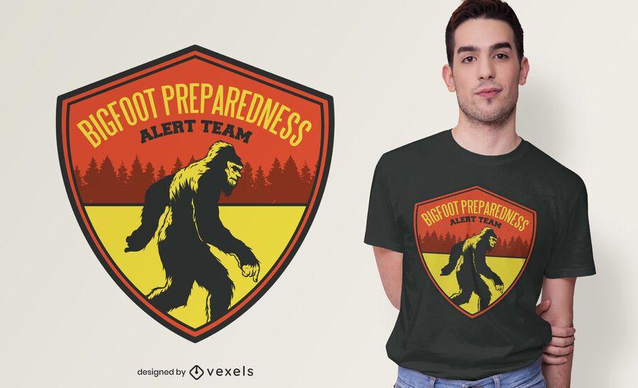 Projeto de t-shirt da equipe de alerta de pé grande