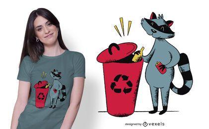 Diseño de camiseta de mapache reciclado
