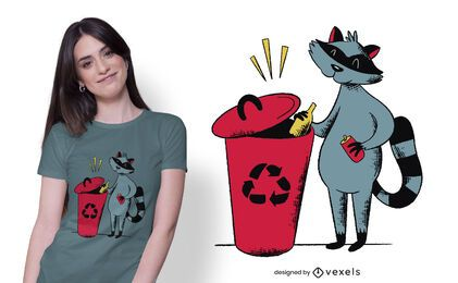 Recycling raccoon t-shirt design