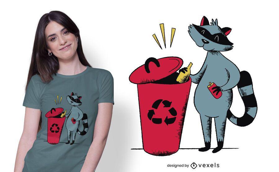 Design de t-shirt de guaxinim de reciclagem