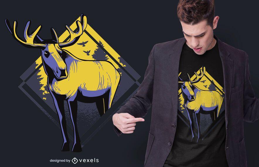 Design de t-shirt de alce em pé