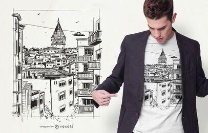 Diseño de camiseta de edificios de Estambul