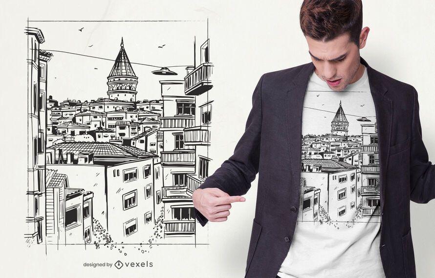 Design de t-shirt de edifícios de Istambul