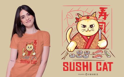 Design de t-shirt de gatinho sushi