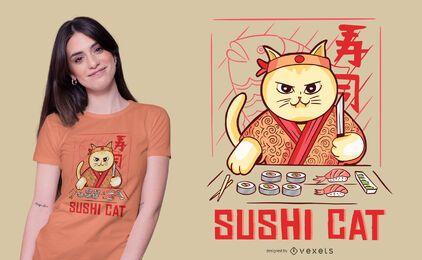 Diseño de camiseta de gatito sushi