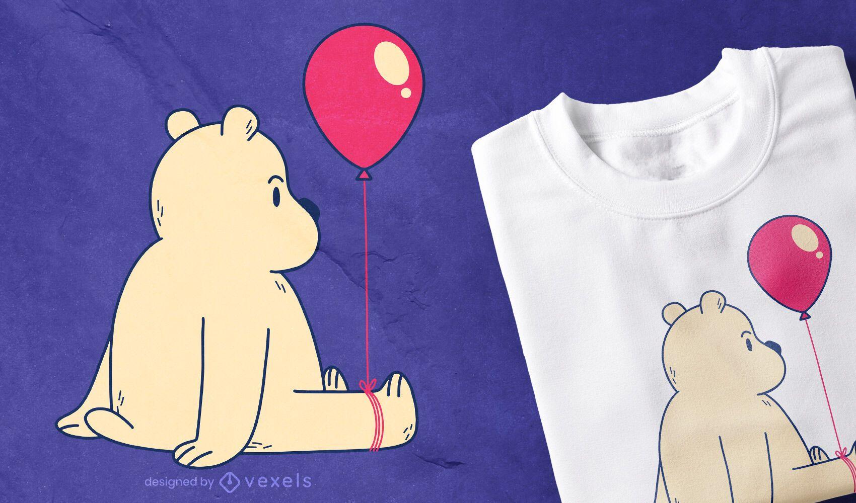 Diseño de camiseta oso globo