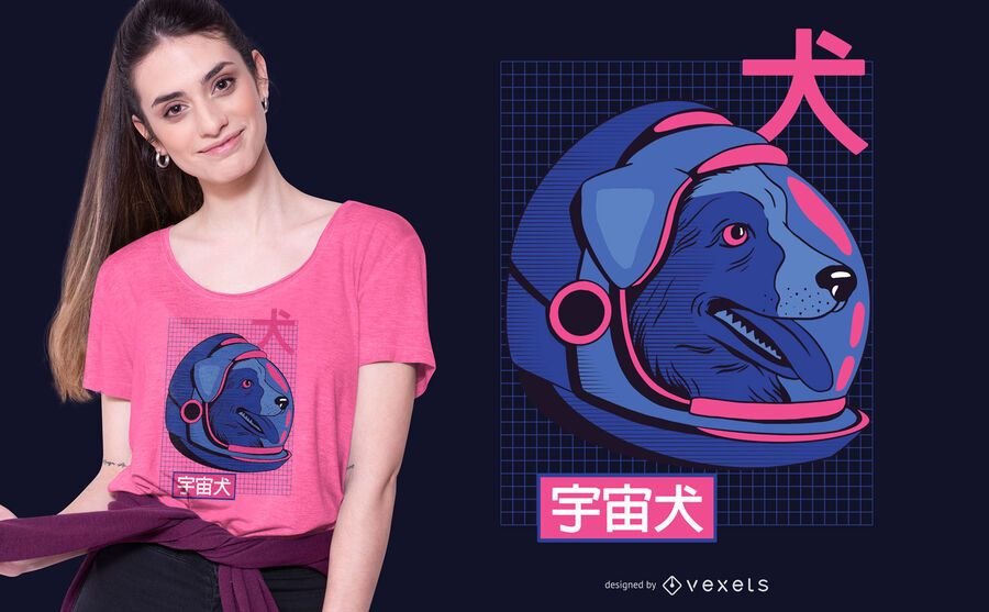 Diseño de camiseta de perro espacial