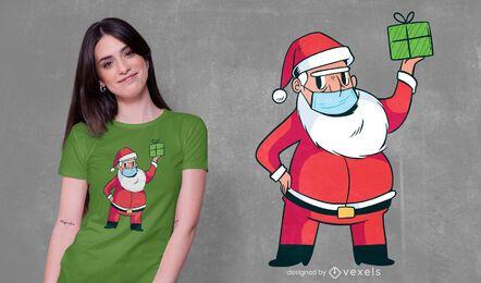 Design de t-shirt de máscara de Papai Noel