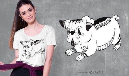 Design de camiseta com tatuagem de pug