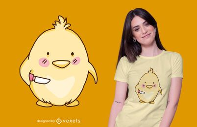 Cute chick with knife t-shirt design