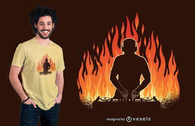 Diseño de camiseta de DJ en llamas