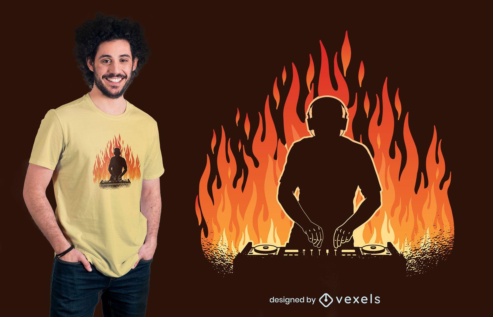 DJ im Flammen-T-Shirt Design
