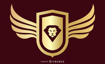 Escudo retro dourado