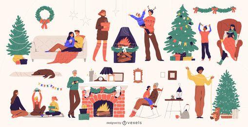 Sammlung von Weihnachtsfiguren und -elementen