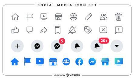 Conjunto de ícones planos de mídia social