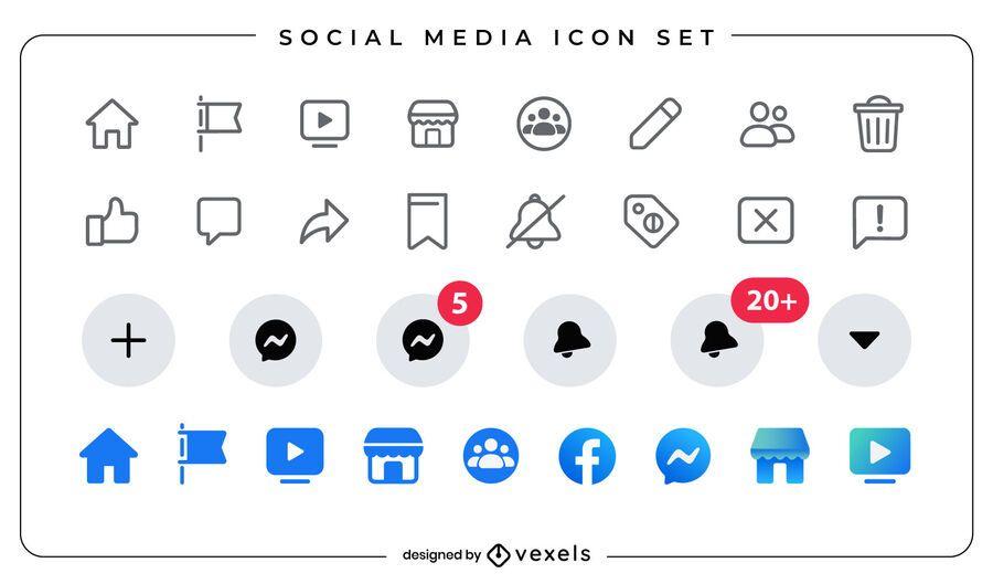 Conjunto de iconos planos de redes sociales