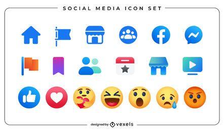 Conjunto de ícones de emoji de mídia social