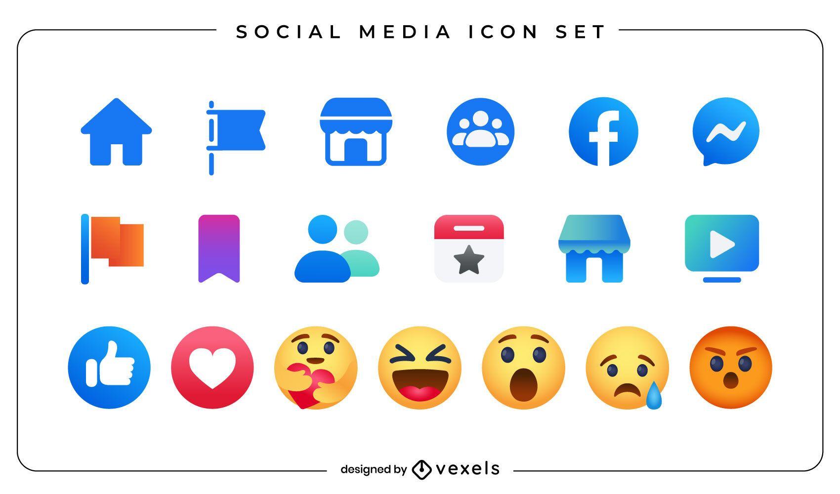 Conjunto de iconos de emoji de redes sociales