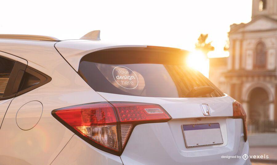 Car sticker sunlight mockup design