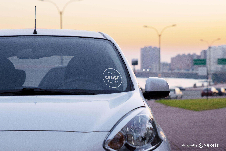 Sticker car mockup design