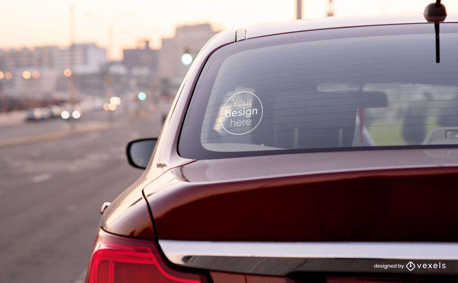 Sticker car mockup composition