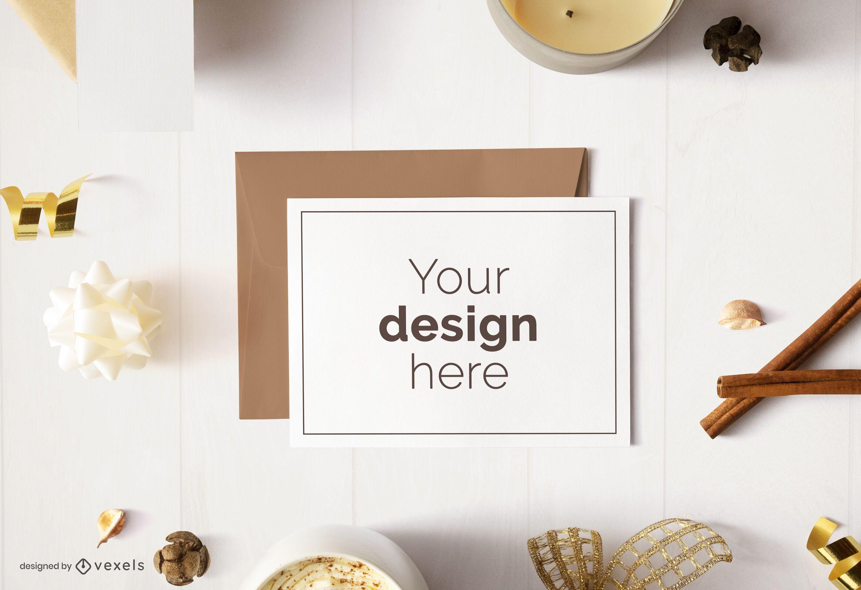 Greeting card christmas mockup design