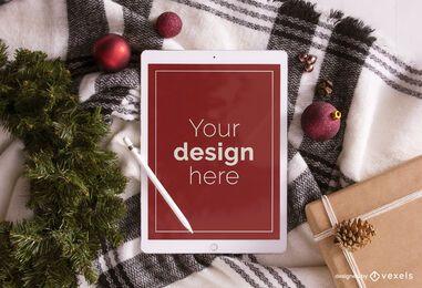 Composição de maquete de ipad de Natal