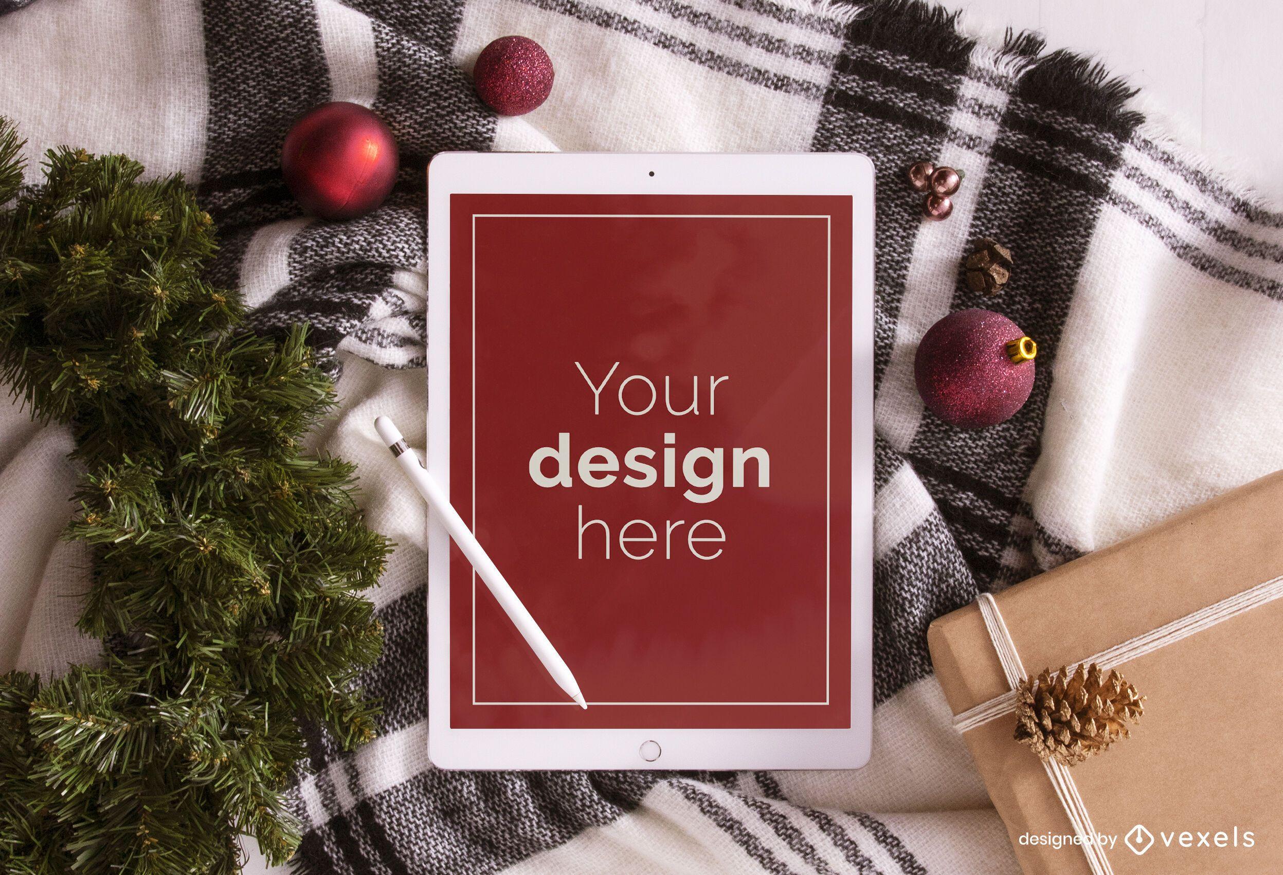 Christmas ipad mockup composition