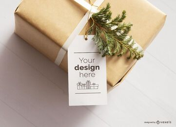 Maquete de etiqueta de presente de natal